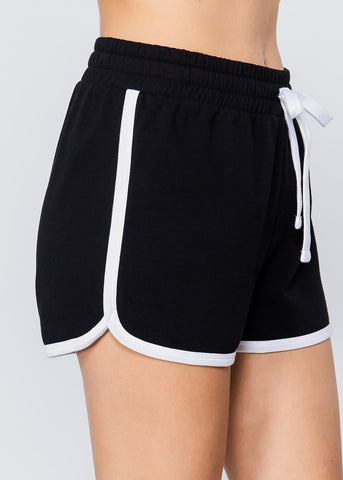 Black & White Drawstring Shorts