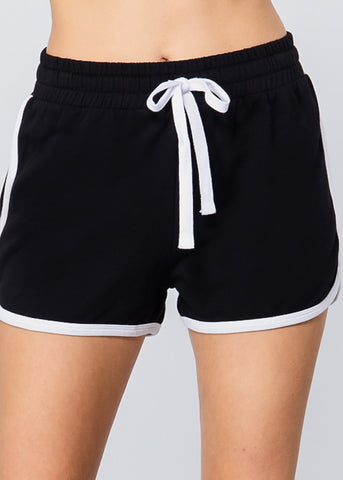 Image of Black & White Drawstring Shorts