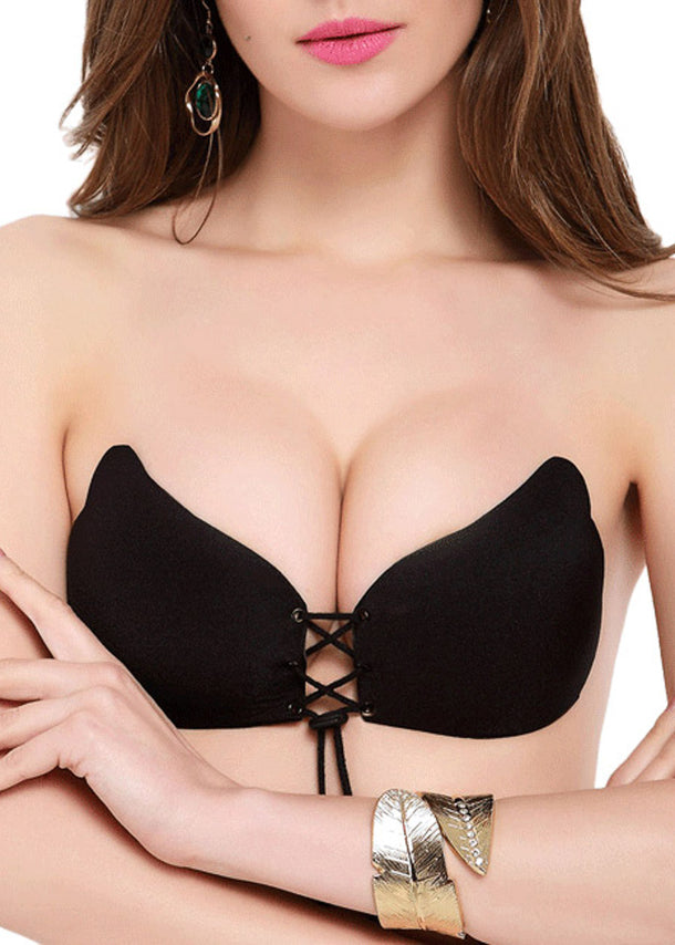 Fly Invisible Strapless Push Up Black Stick On Bra