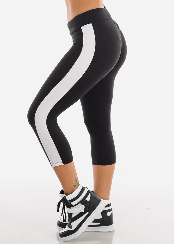 High Rise Sporty Black Capris