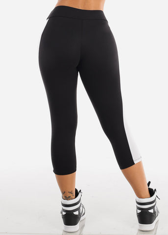 Image of Sexy Essential Workout Gym Fit Stretchy Comfortable Black Capris For Women Ladies Junior On Sale