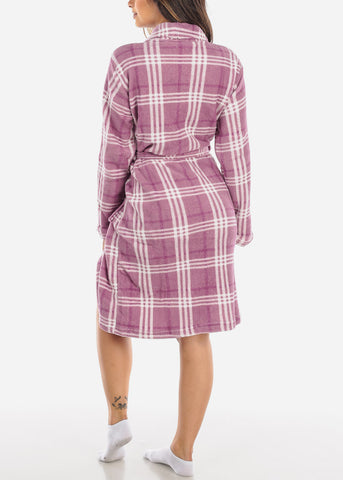 Image of Plaid Print Purple Fleece Robe