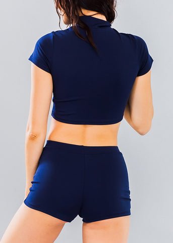 Navy Zip Up Crop Top & Shorts (2 PCE SET)