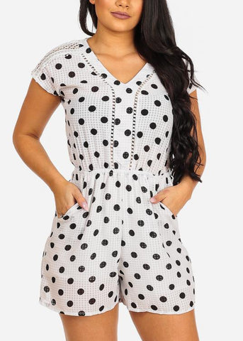 Image of Cute White Flowy Polka Dot Crochet Detail Romper