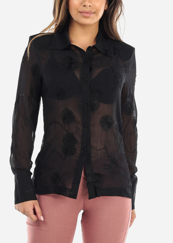 Image of Sheer Black Button Down Blouse