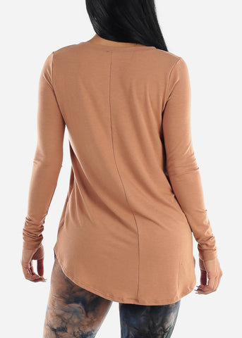 Egg Shell V-Neck Round Hem Tunic Top