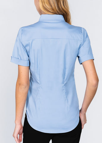 Short Sleeve Button Up Blue Top