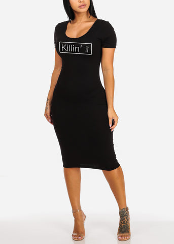 Killin It Sexy Short Sleeve Solid Black Super Stretchy Midi Dress