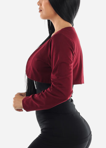 PLUS SIZE Burgundy Bolero Cardigan