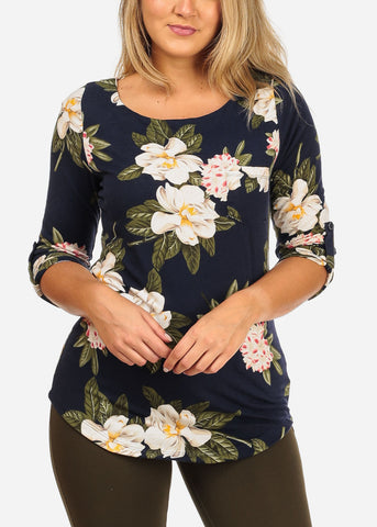 Women's Junior Stylish Going Out Casual 3/4 Sleeve Navy Floral Print Top