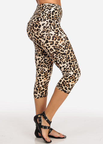 Women's Junior Ladies Cute Comfortable Trendy Pull On High Rise Animal Print Capri Leggings