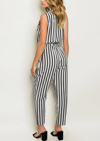 Half Button Up Stripe Jumpsuit