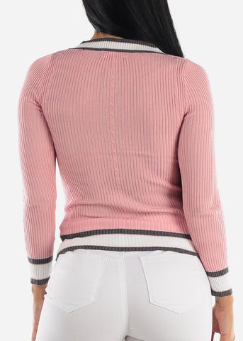 Image of Long Sleeve Ribbed Pink Sweater