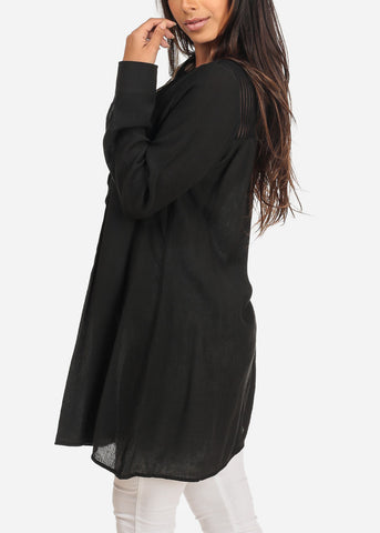Women's Junior Ladies Casual Lightweight Long Sleeve Button Up Solid Black Tunic Top