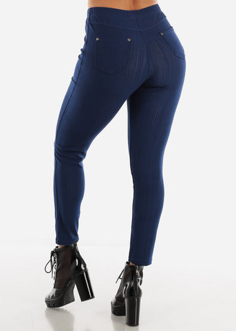 Navy Pull-On Skinny Jeggings
