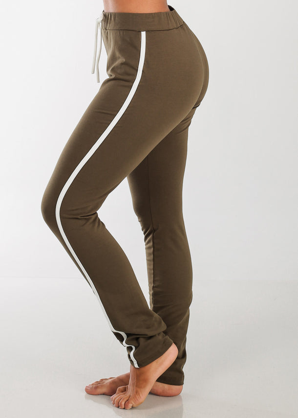 High Rise Elastic Stripe Pants (Olive)
