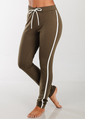 Image of Cheap Elastic Stripe Pants (Olive)