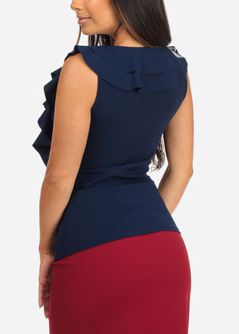 Women's Junior Ladies Sexy Going Out Dressy Ruffle Detail Light Navy Sleeveless Top