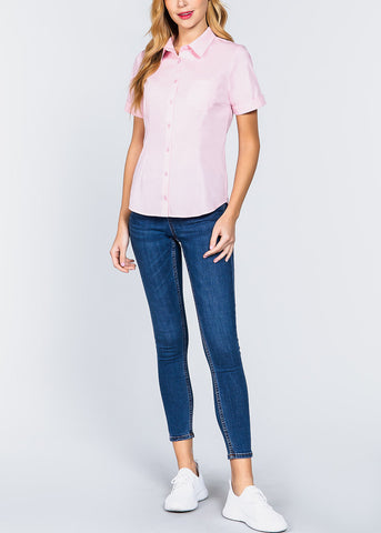 Short Sleeve Button Up Pink Top