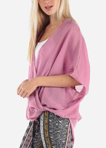 Women's Junior Ladies Summer Vacation Lightweight Short Sleeve Wrap Front High Low Mauve Blouse Top