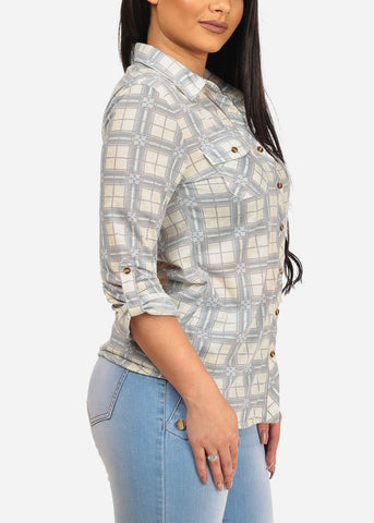 Women's Junior Stylish Button Up Roll Up Sleeve Rodeo Style Plaid And Floral Printed Pattern Print Ivory Blouse Top Shirt