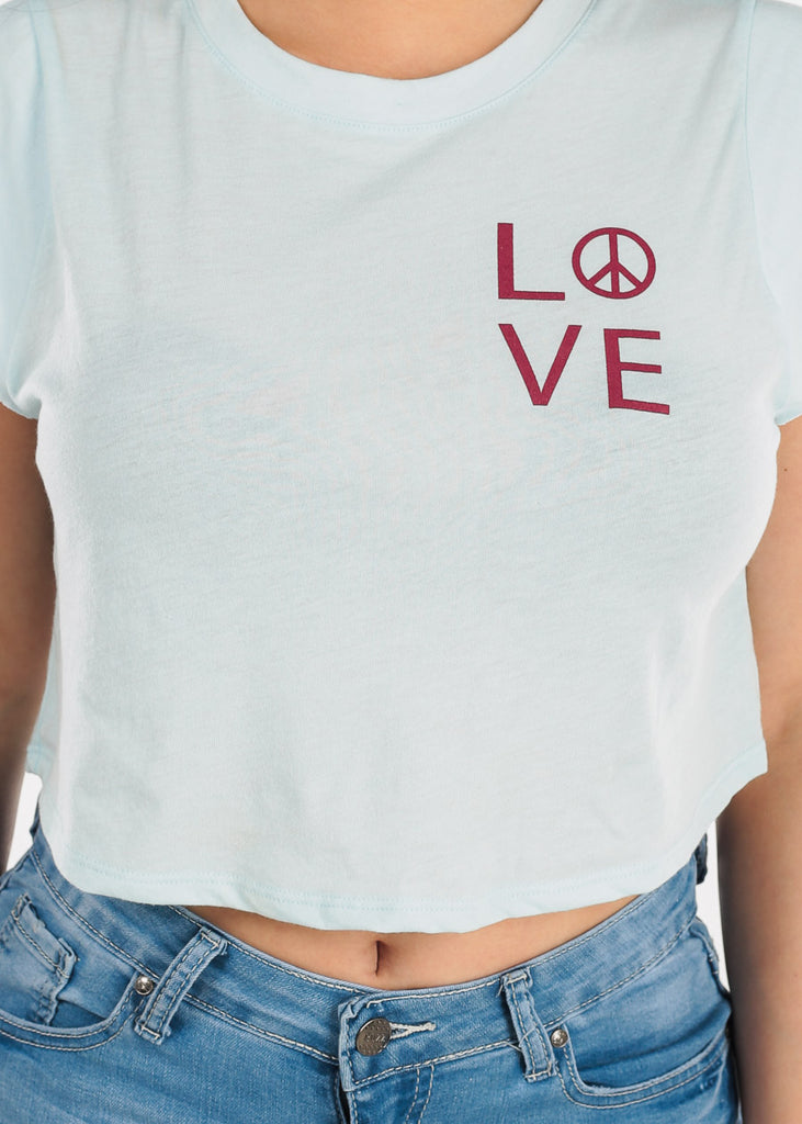 "Light Blue Sleeveless Crop Top  ""Love"""