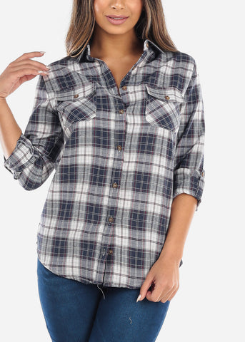 Image of Navy Plaid Button Down Shirt