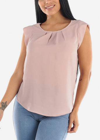 Image of Cap Sleeve Oyster Blouse
