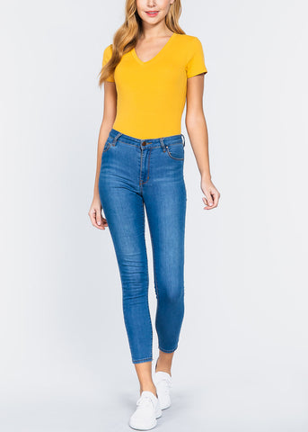 Image of V-Neck Mustard Bodysuit