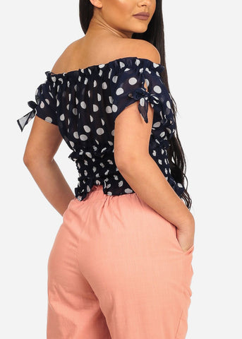 Navy Polka Off Shoulder Dot Crop Top