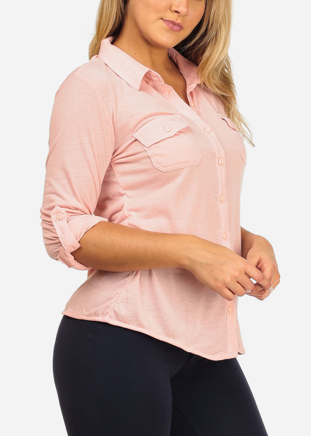 Button Up Blush Shirt