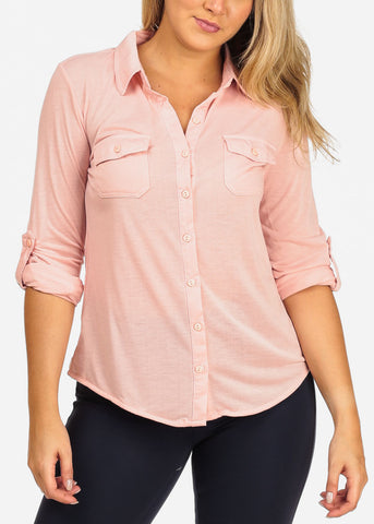 Image of Women's Junior Ladies Casual Formal Business Career Wear 3/4 Sleeve Button Up Blush Shirt