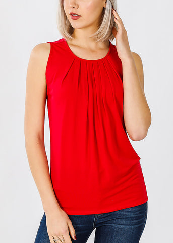 Sleeveless Ruby Pleat Top