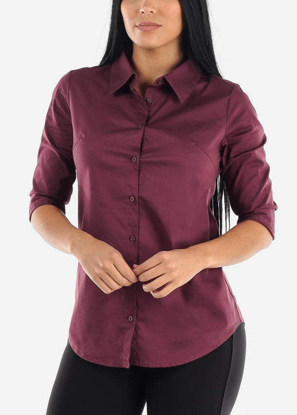 Cotton Button Up Eggplant Shirt