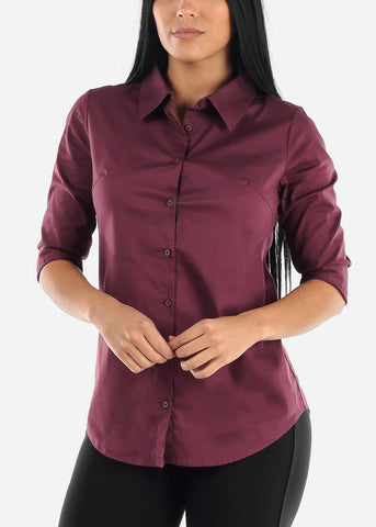 Image of Cotton Button Up Eggplant Shirt