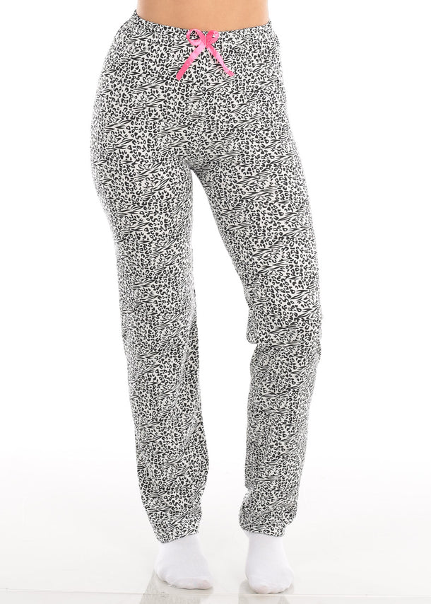Stretchy White And Black Printed Pull On Pajama Pants Sleepwear