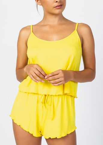 Yellow Crop Tank Top & Shorts (2 PCE SET)