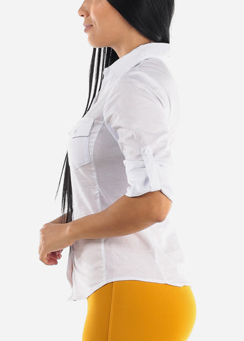 Image of 3/4 Sleeve Button Up White Shirt