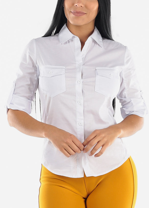 3/4 Sleeve Button Up White Shirt