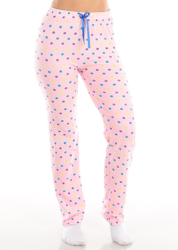 Cute High Waisted Pink Polka Dot Stretchy Pajama Pants Sleepwear