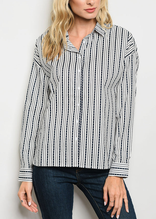 White Stripe Printed Button Up Shirt
