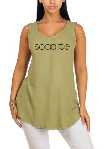 Sleeveless Light Green Stretchy Socialite Graphic Print Tee Tank Top