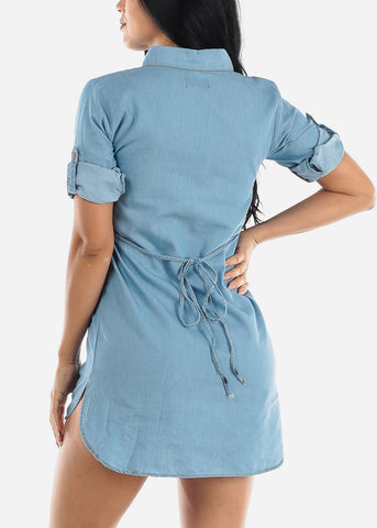 Image of Short Sleeve Light Denim Tunic Dress