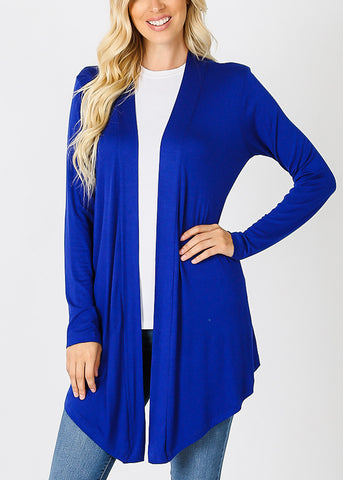 Long Sleeve Open Front Royal Blue Cardigan