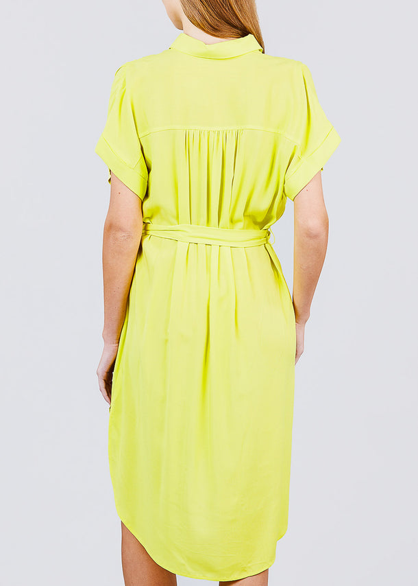 Button Front Belted Lime Shirt Dress