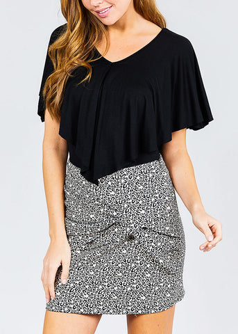 V Neck Cape Rayon Black Top