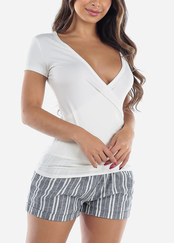 Cute Short Sleeve V Neck Wrap Front Pure White Super Stretchy Top For Women Junior Ladies