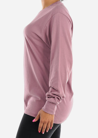 Image of Long Sleeve Crew Neck Rosewood Top