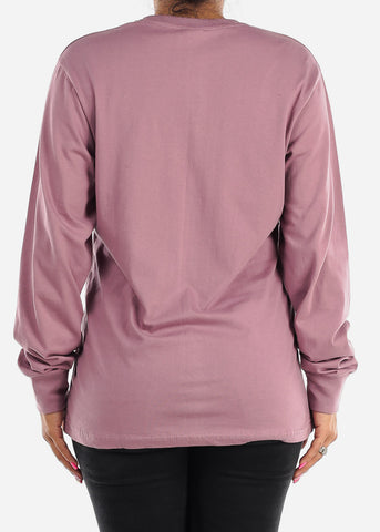 Long Sleeve Crew Neck Rosewood Top