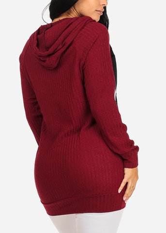 Knitted Burgundy Tunic Top W Hood